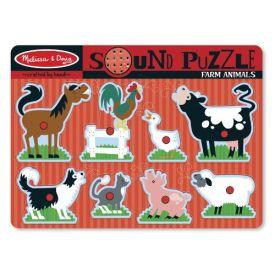 Melissa & Doug - Farm Animals Sound Puzzle - Wooden Peg Puzzle With Sound Effects (8 pcs)