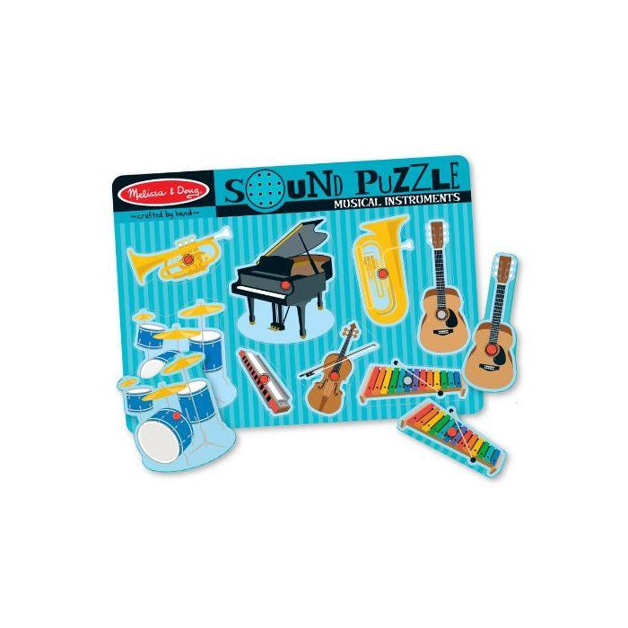Melissa & Doug - Musical Instruments Sound Puzzle - Wooden Peg Puzzle (8 pcs)