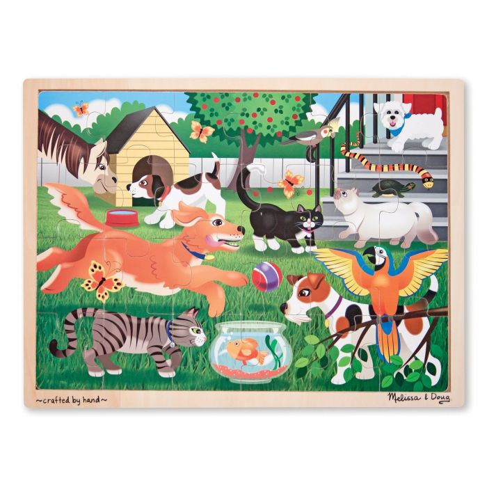 Melissa & Doug - Pets at Play Wooden Jigsaw Puzzle With Storage Tray (24 pcs)