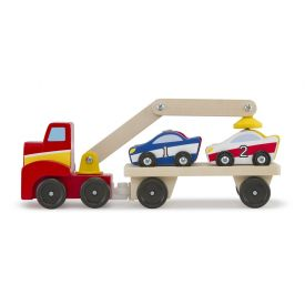 Melissa & Doug - Magnetic Car Loader Wooden Toy Set With 4 Cars and 1 Semi-Trailer Truck