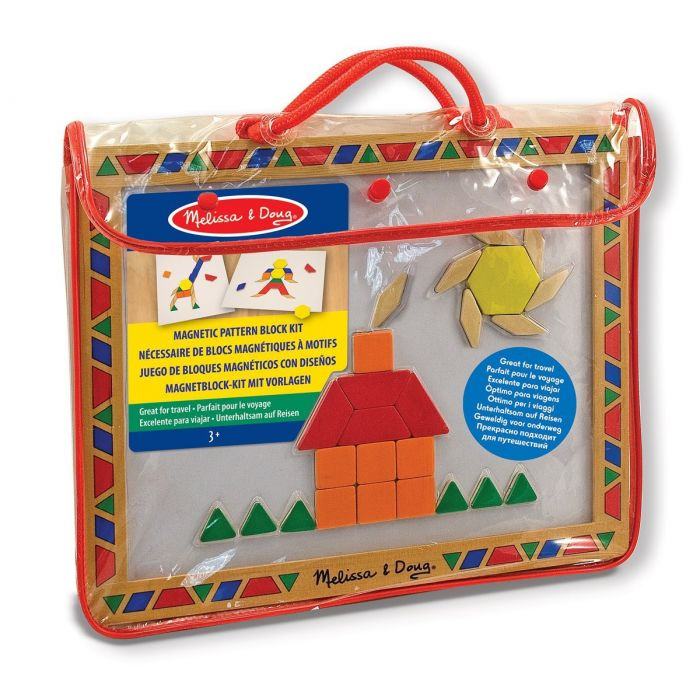 Melissa & Doug - Deluxe Wooden Magnetic Pattern Blocks Set - Educational Toy With 120 Magnets and Carrying Case