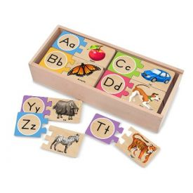Melissa and Doug - Self-Correcting Wooden Alphabet Puzzles With Storage Box (40 pcs)