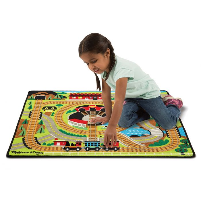 Melissa & Doug Round the Rails Train Rug With 3 Linking Wooden Train Cars  (100 x 91 centimeters)