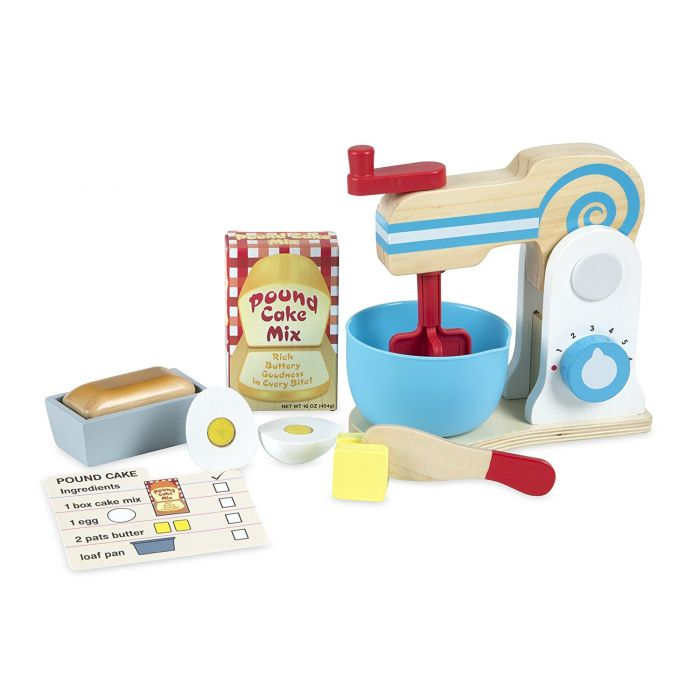 Melissa and Doug Wooden Make-a-Cake Mixer Set (11 pcs) - Play Food and Kitchen Accessories
