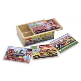 Melissa and Doug Vehicles 4-in-1 Wooden Jigsaw Puzzles in a Storage Box (48 pcs)