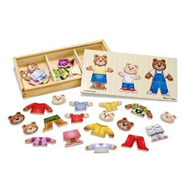 Melissa and Doug Mix 'n Match Wooden Bear Family Dress-Up Puzzle With Storage Case