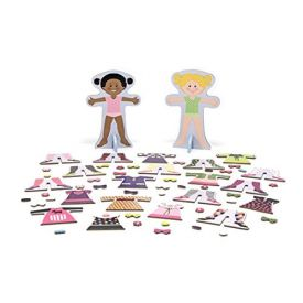 Melissa & Doug Tops and Tights Magnetic Dress-Up Wooden Doll Pretend Play Set (56+ pcs)
