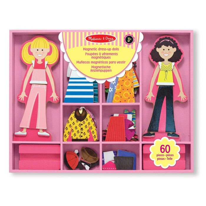 Melissa and Doug Abby and Emma Deluxe Magnetic Wooden Dress-Up Dolls
