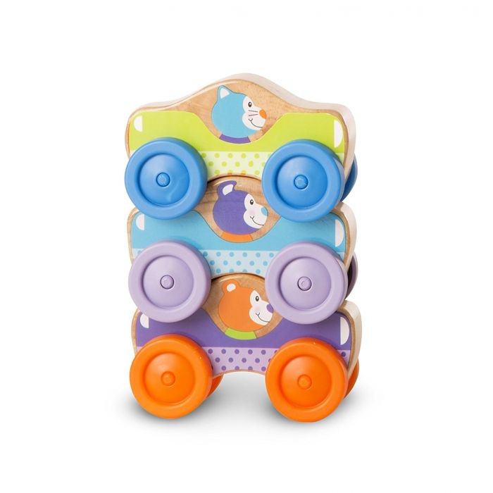 Melissa & Doug First Play Wooden Animal Stacking Cars (3 Pcs)