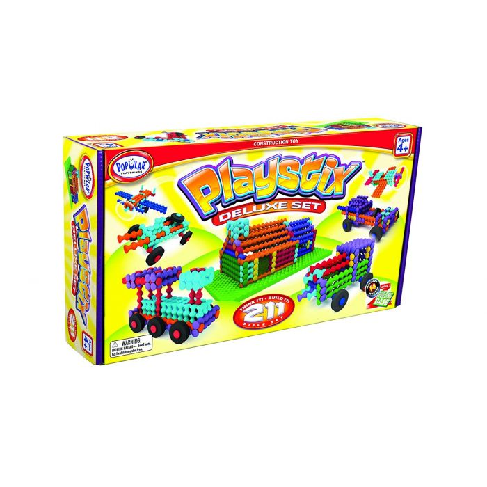 Popular Playthings Playstix Deluxe Construction Toy (211-Piece, Multi-Colour)