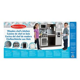 """Melissa and Doug Wooden Chef's Pretend Play Toy Kitchen With """"Ice"""" Cube Dispenser – Charcoal"""