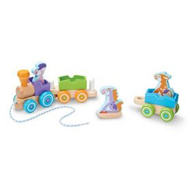 Melissa and Doug  Rocking Farm Animals First Play Wooden Pull Train