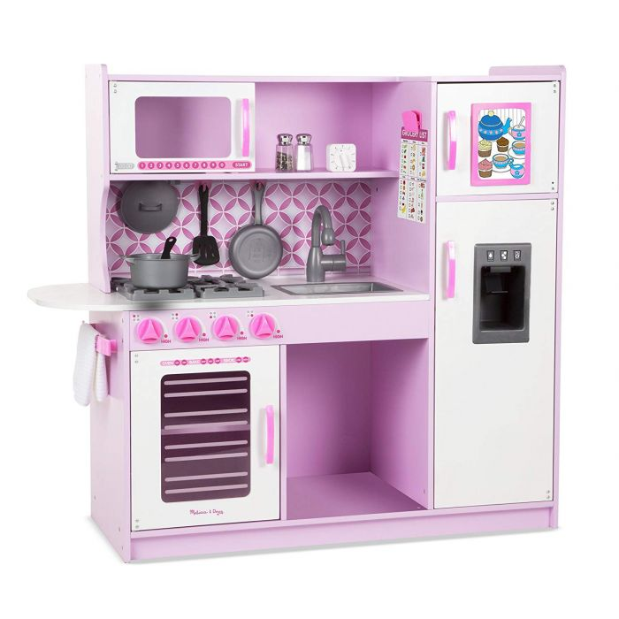 """Melissa and Doug Wooden Chef's Pretend Play Toy Kitchen With """"Ice"""" Cube Dispenser – Cupcake Pink/White"""