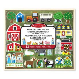 Melissa and Doug Wooden Farm & Tractor Play Set (33 pcs)