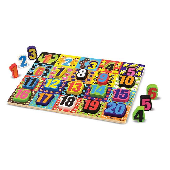 Melissa and Doug Jumbo Numbers Wooden Chunky Puzzle (20 pcs)