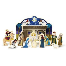 Melissa and Doug Classic Wooden Christmas Nativity Set With 4-Piece Stable and 11 Wooden Figures