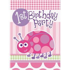 Ladybug First Birthday Pink Invitations
