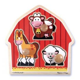 Melissa and Doug - Barnyard Animals Large Peg Puzzle.